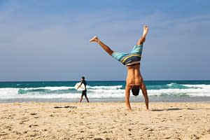 Handstand At the Beach And Happy