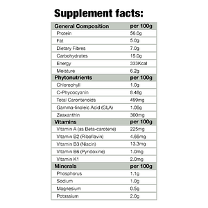 Supplement Facts for Spirulina