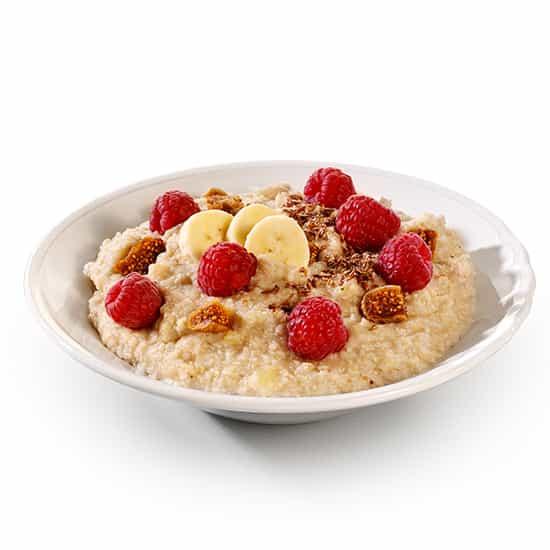 Jentschura Morgenstund Alkalising Cereal ® - Millet and buckwheat porridge with fruit and seeds served on porridge