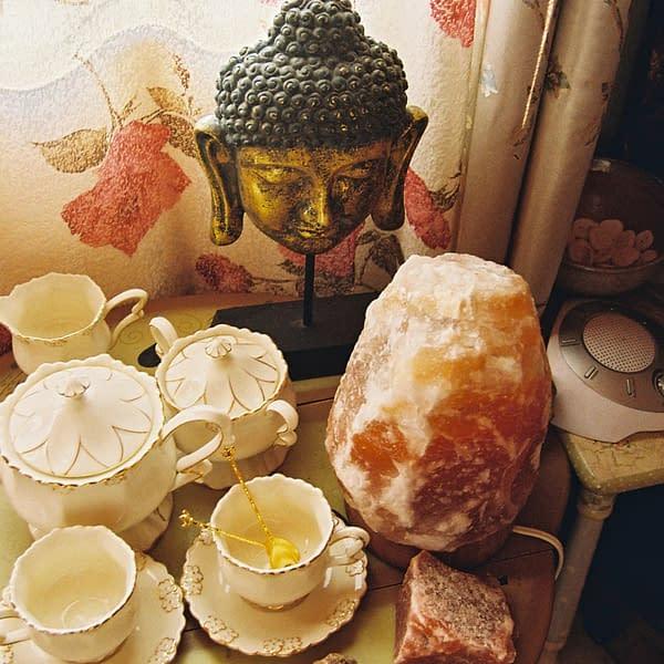 Himalayan Salt lamp on occasional table