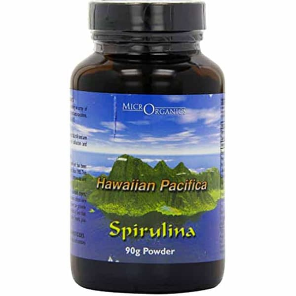 hawaiian spirulina powder glass jar