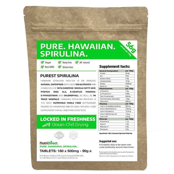 Pure Organic Spirulina Tablets 180