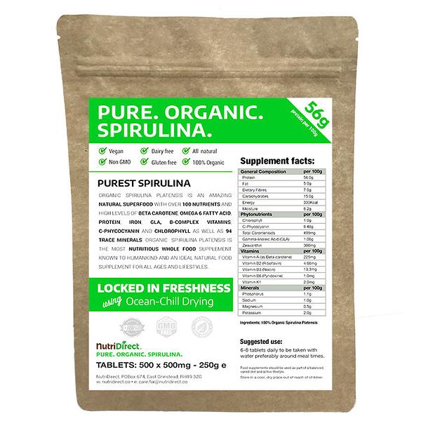 Pure Organic Spirulina Tablets 500